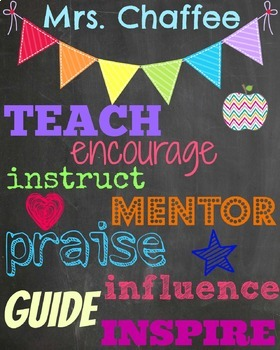 Colorful Teacher poster with banner and name