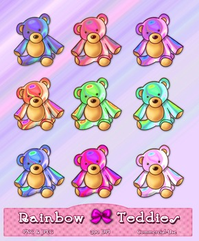 Colorful Teddy Bears Clipart 9 Pack Digital Graphics