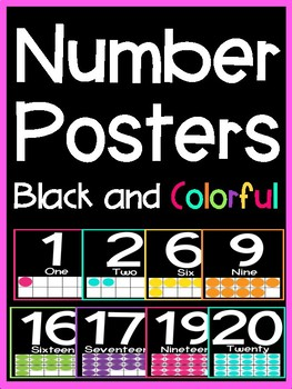 Colorful Ten Frame Number Posters (Black and Colorful Series)