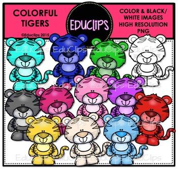 Colorful Tigers Clip Art Bundle {Educlips Clipart}