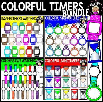 Colorful Timers Clip Art Bundle {Educlips Clipart}