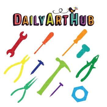 Colorful Tools Clip Art - Great for Art Class Projects!