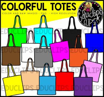 Colorful Tote Bags Clip Art Bundle {Educlips Clipart}