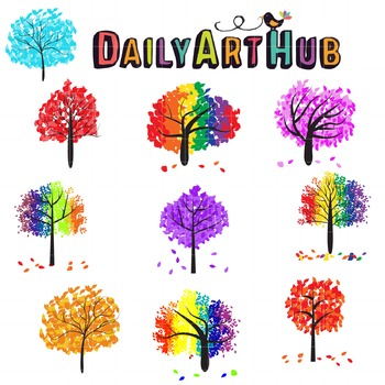 Colorful Trees Clip Art - Great for Art Class Projects!