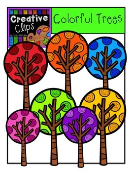 Colorful Trees {Creative Clips Digital Clipart}