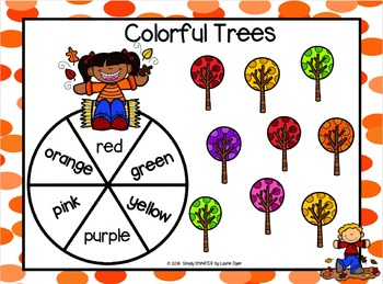 Colorful Trees:  NO PREP Color Word Spin and Cover Game