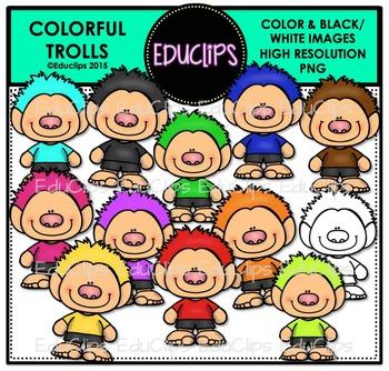 Colorful Trolls Clip Art Bundle {Educlips Clipart}