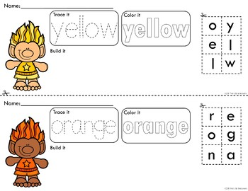 Colorful Trolls Trace Color and Build Writing Center Activity