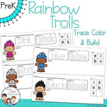 Rainbow Trolls Trace Color and Build Writing Center Activity