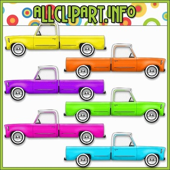 $1.00 BARGAIN BIN - Colorful Trucks (Bright) Clip Art