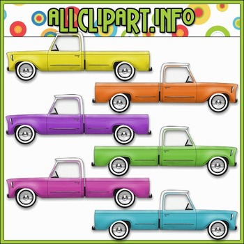 $1.00 BARGAIN BIN - Colorful Trucks (Pastel) Clip Art
