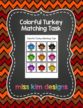 Colorful Turkey Matching Folder Game for Early Childhood Special Education