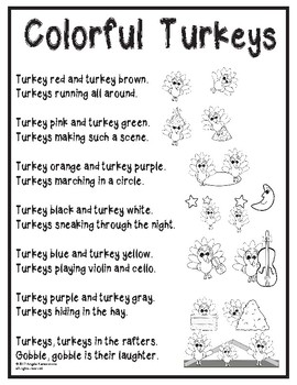Colorful Turkey Poem