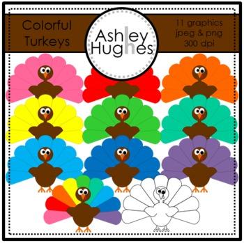 Colorful Turkeys Clipart {A Hughes Design}