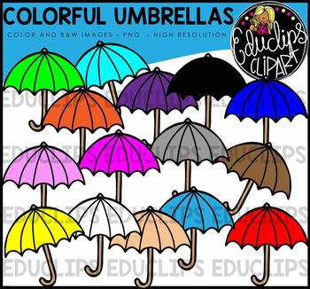 Colorful Umbrellas Clip Art Bundle {Educlips Clipart}