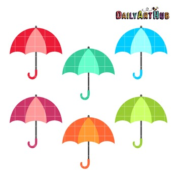 Colorful Umbrellas Clip Art - Great for Art Class Projects!