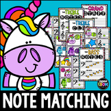 May Unicorn Music Notes Matching Flashcard Activity