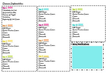 Colorful Unit Plan Template