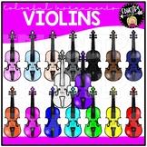 Colorful Violins Clip Art Set {Educlips Clipart}