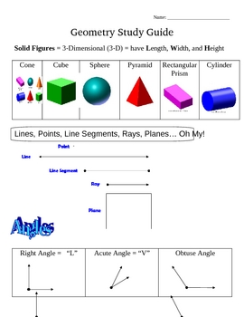 Colorful Visual Geometry Study Guide