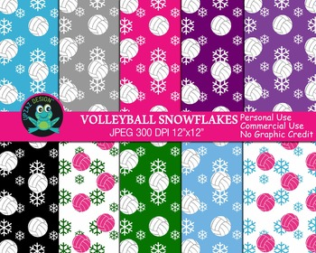 Colorful Volleyball Christmas Papers (Upzaz Digital Clipart)
