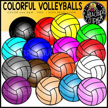 Colorful Volleyballs Clip Art Set {Educlips clipart}
