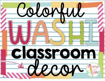 Colorful Washi Classroom Decor Bundle