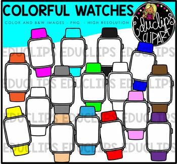 Colorful Watches Clip Art Bundle {Educlips Clipart}