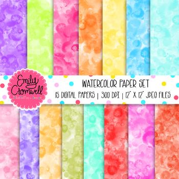 Colorful Watercolor Digital Paper Set