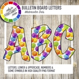 Bulletin Board Letters Colorful Watercolor pattern Printable Classroom decor