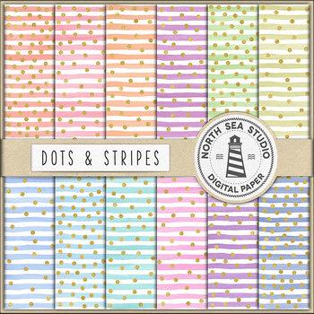 Colorful Watercolor Stripes And Gold Confetti Backgrounds {Pretty Graphics}