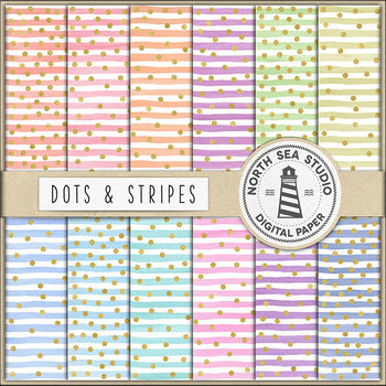 Colorful Watercolor Stripes And Gold Confetti Backgrounds