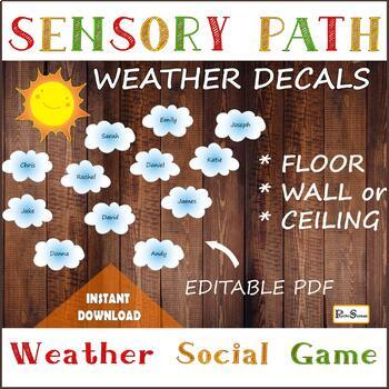 Colorful Weather Floor Path Set / Printable floor design for Nursery School,