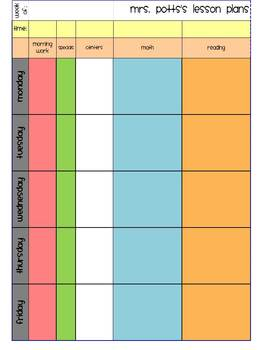 Colorful Weekly Lesson Planning Template