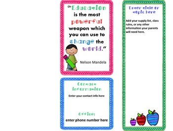 Colorful Welcome Back Pamphlet for Parents 1st Day of School or Open House