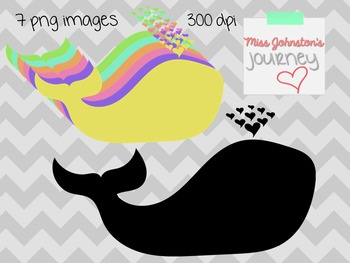 Colorful Whales Clipart {Freebie!}