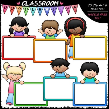 Colorful Whiteboard Kids Clip Art - Dry Erase Board Kids Clip Art & B&W Set