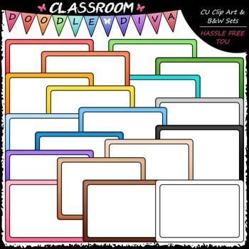Colorful Whiteboards Clip Art - Dry Erase Boards Clip Art & B&W Set