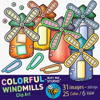 Colorful Windmills Clip Art   Build Your Own Windmill