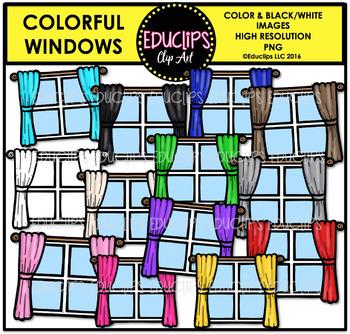 Colorful Windows Clip Art Bundle {Educlips Clipart}