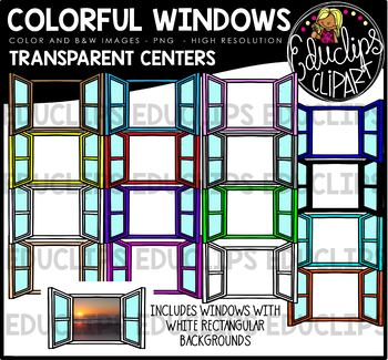 Colorful Windows - Transparent Centers Clip Art Bundle {Educlips Clipart}