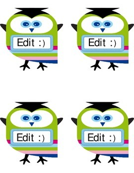 Colorful Wise Owl Editable Labels