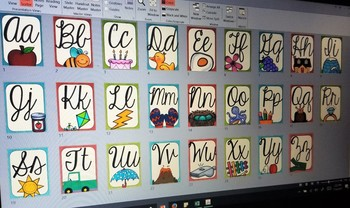 Colorful Wood Cursive Alphabet Posters