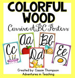 Colorful Wood Cursive Alphabet Posters