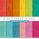 Colorful Wood Digital Paper, scrapbook backgrounds