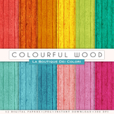 Colorful Wood Digital Paper, scrapbook backgrounds