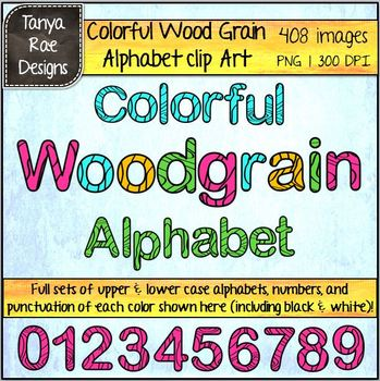 Colorful Woodgrain Alphabet Digital Clip Art