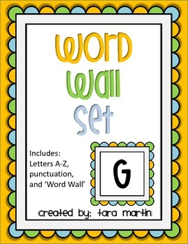 Colorful Word Wall Alphabet {Blue, Green & Light Orange}