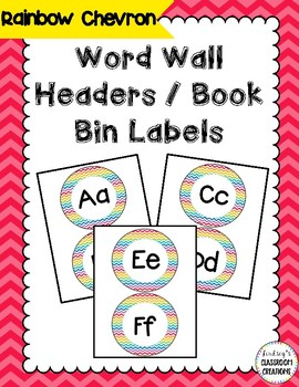 Word Wall Headers - Rainbow Chevron Decor - Great for Primary Classrooms!
