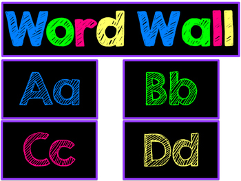 Colorful Word Wall Labels